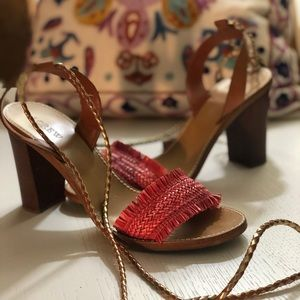 J.Crew raffia pink and gold leather heels